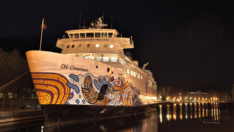 Chi-Cheemaun Ferry at Night, Owen Sound Real Estate - Rob Wray