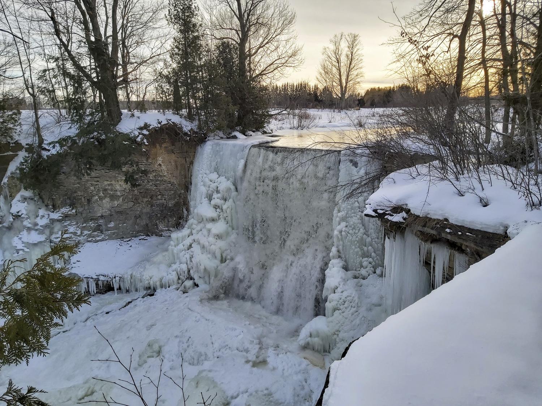 Indian Falls Icy Sunset (Winter), Georgian Bluffs Real Estate - Brandon Downing