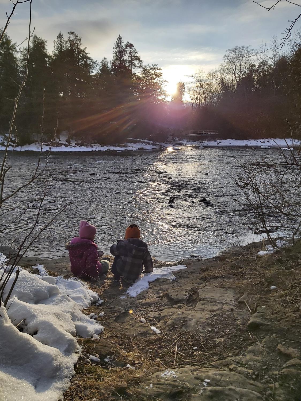 Inglis Falls River With Kids Playing (Winter), Owen Sound Real Estate - Brandon Downing