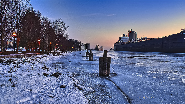 Inner Harbour Sunrise Owen Sound Real Estate (Winter) - Rob Wray