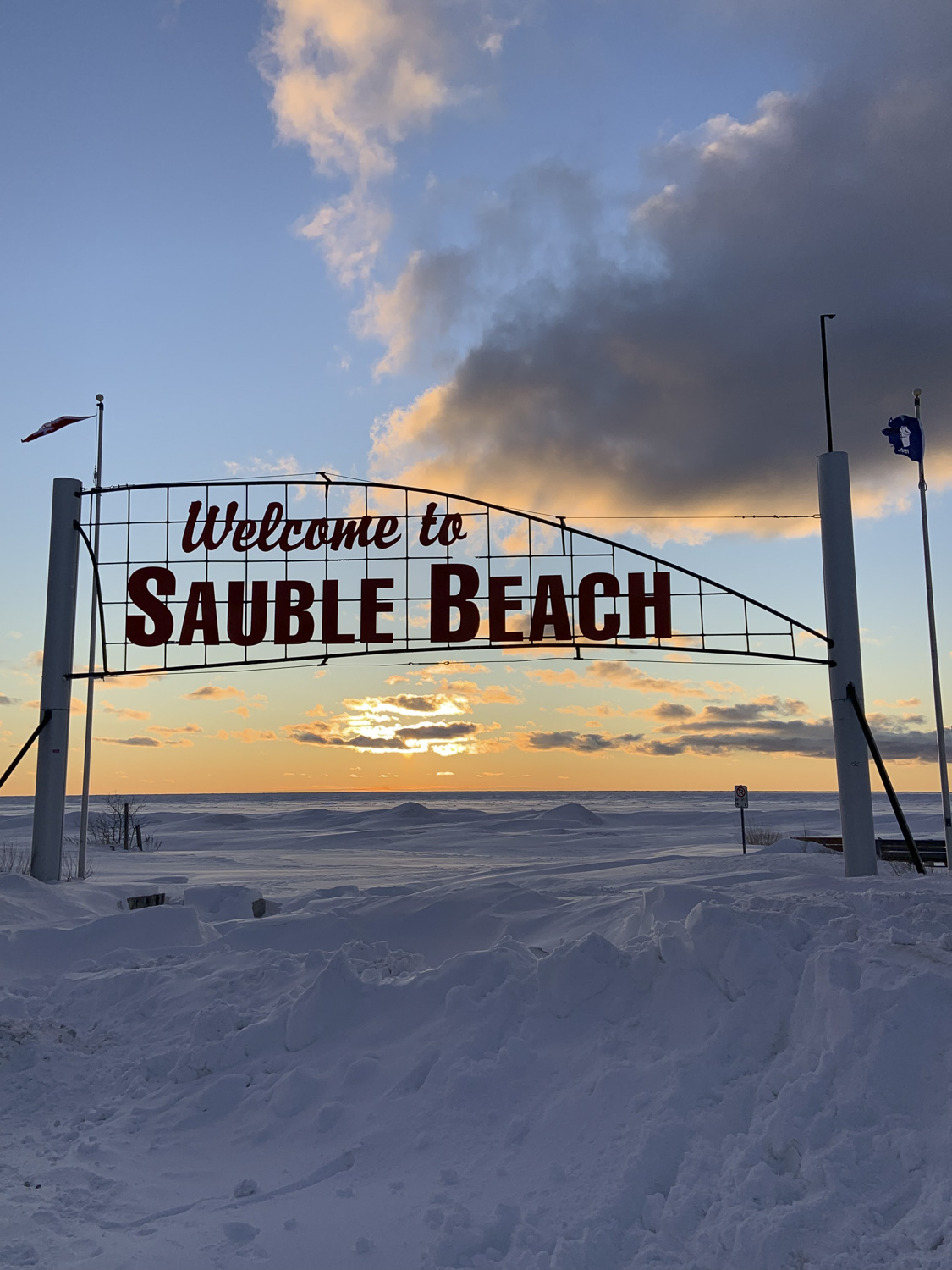 Sauble Beach Sign Sunset, Sauble Beach Real Estate, South Bruce Peninsula Real Estate